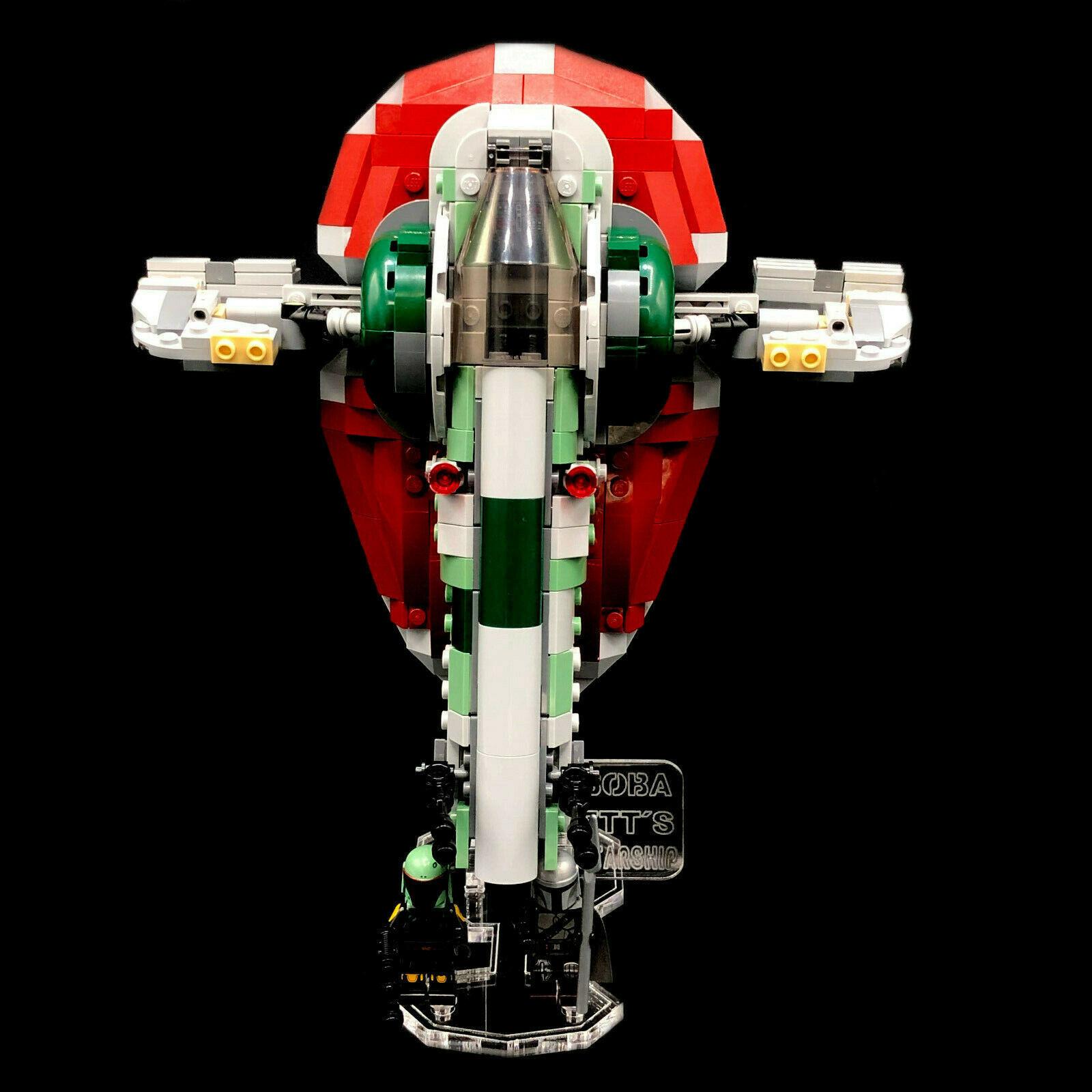 Acryl Deko Präsentation Standfuss LEGO Modell 75312 Boba Fetts Starship