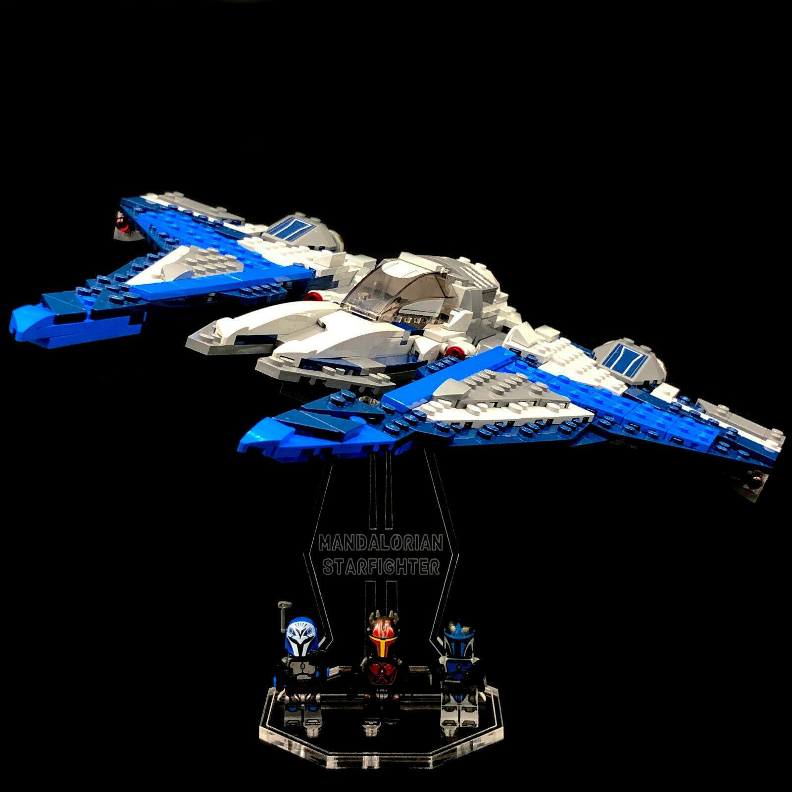Acryl Deko Präsentation Standfuss LEGO Modell 75316 Mandalorian Starfighter
