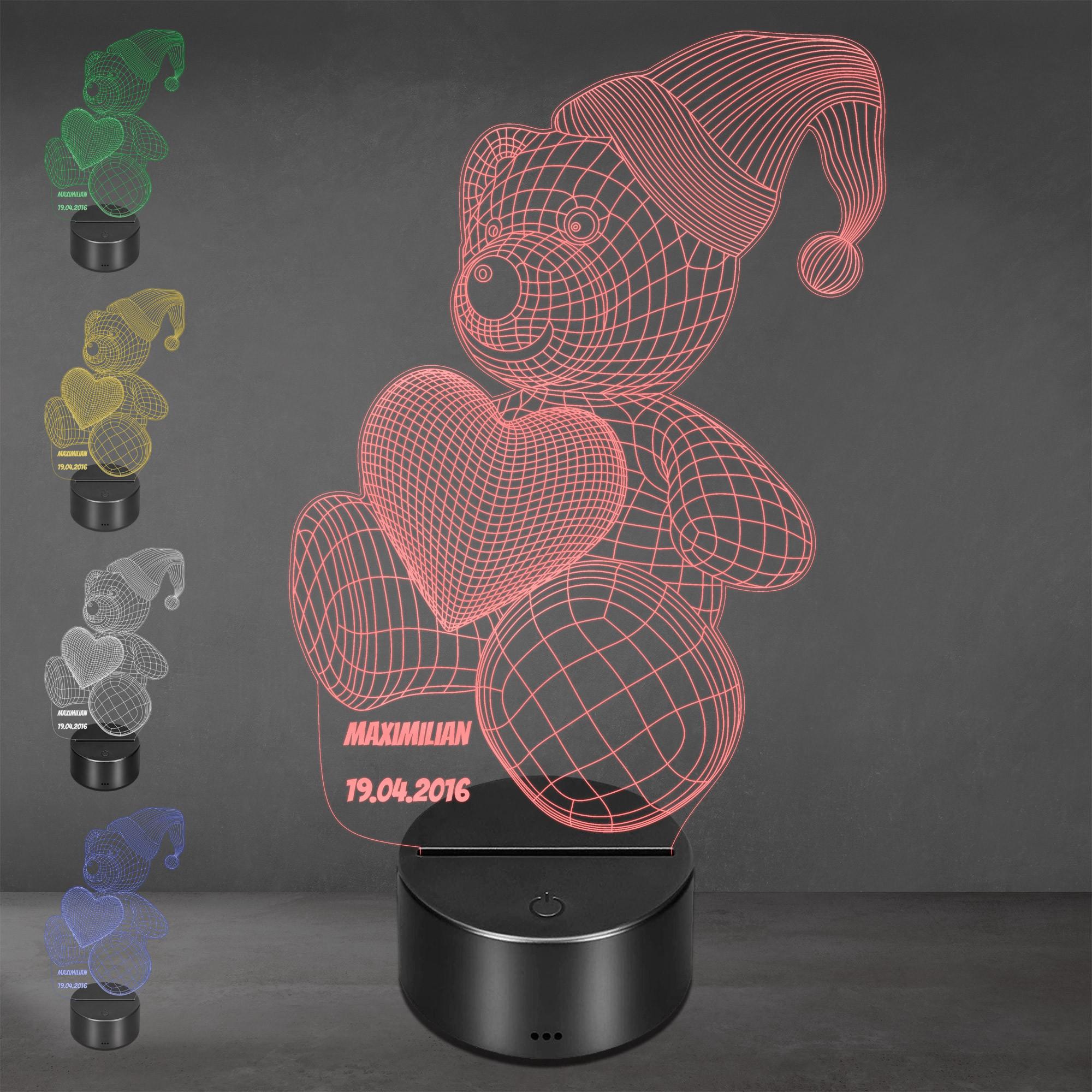 Acrylglas Aufsteller / Nachtlicht - Teddy mit Mütze
