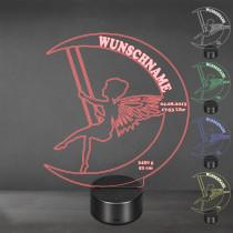 Acrylglas Aufsteller / Nachtlicht - Schaukelnde Fee mit LED Beleuchtung
