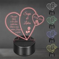 Acrylglas Aufsteller / Nachtlicht - Das große Glück der Liebe