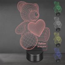 Acrylglas Aufsteller / Nachtlicht - Teddy mit Herz