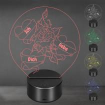 Acrylglas Aufsteller / Nachtlicht - Blühende Liebe